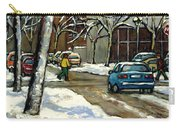 Canadian Artist Winter Scenes Original Paintings Quebec Streets Achetez  Montreal Art Online Carry-all Pouch
