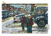 Best Canadian Winter Scene Paintings Original Montreal Art Achetez Scenes De Quebec Cspandau Carry-all Pouch