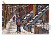 Canadian Art Winter Streets Original Paintings Verdun Montreal Quebec Scenes Achetez Les Meilleurs Carry-all Pouch