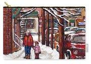 Canadian Winter Scene Paintings Original Art Verdun Montreal Achetez Scenes De Rue Quebec C Spandau  Carry-all Pouch