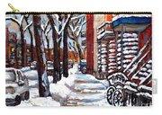 Canadian Winter Scene Paintings Original Art Verdun Montreal Achetez  Paysages De Quebec C Spandau Carry-all Pouch