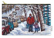 Paysages De Verdun Quebec A Vendre Original Verdun Montreal Winter Staircase Street Scene Paintings  Carry-all Pouch