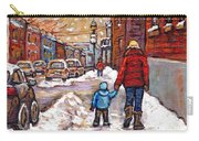 Original Montreal Street Scene Paintings For Sale Winter Walk After The Snowfall Best Canadian Art Carry-all Pouch