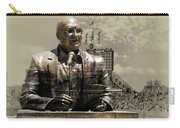 Harry Caray Statue With Historic Wrigley Scoreboard In Heirloom Carry-all Pouch