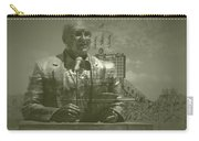 Harry Caray Statue With Historic Wrigley Scoreboard Carry-all Pouch