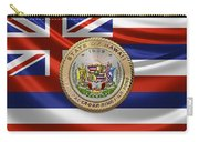 Hawaii Great Seal Over State Flag Carry-all Pouch