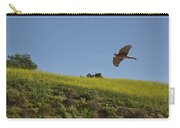 Hawk Flying Over Field Of Yellow Mustard Carry-all Pouch