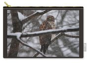 Hawk In Snow Storm Carry-all Pouch