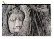 Head Of Buddha Statue In The Tree Roots Carry-all Pouch