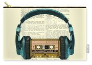 Blue Headphone And Yellow Cassette Collage Print Carry-all Pouch