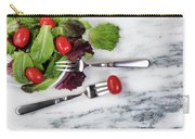 Healthy Organic Salad Flowing Out Of Plate On Natural Marble Tab Carry-all Pouch