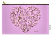 Heart With Pink Flowers And Swirls Carry-all Pouch