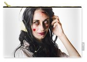 Heavy Metal Zombie Woman Wearing Headphones Carry-all Pouch
