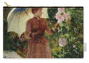 Henri Emile De Sachy France 19th Century Elegant Young Lady In The Garden Walk At Hollyhocks Carry-all Pouch