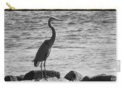 Heron On The Rocks Carry-all Pouch by William Selander