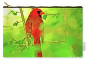 Hiding Behind The Leaves - Male Cardinal Art Carry-all Pouch