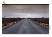 Highway Straight Road Leading To The Snowy Mountains Carry-all Pouch