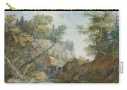 Hilly Landscape With A River And Figures In The Background Carry-all Pouch