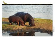 Hippo Mother And Child - Botswana Africa Carry-all Pouch