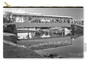 Historic Halls Mill Bridge Reflections Black And White Carry-all Pouch