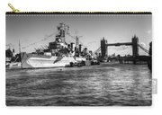 Hms Belfast And Tower Bridge 2 In Black And White Carry-all Pouch