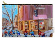 Hockey At Beautys Deli Carry-all Pouch by Carole Spandau