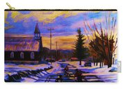 Hockey Game In The Village Carry-all Pouch by Carole Spandau