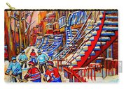 Hockey Game Near The Red Staircase Carry-all Pouch by Carole Spandau