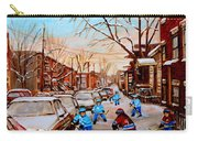 Hockey Gameon Jeanne Mance Street Montreal Carry-all Pouch by Carole Spandau