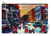 Hockey Paintings Of Montreal St Urbain Street City Scenes Carry-all Pouch