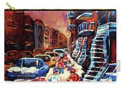 Hockey Paintings Of Montreal St Urbain Street Winterscene Carry-all Pouch