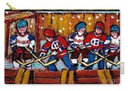 Hockey Rink Paintings New York Rangers Vs Habs Original Six Teams Hockey Winter Scene Carole Spandau Carry-all Pouch