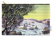 Holiday Winter Snow Scene Children Skating On Frozen Pond Carry-all Pouch