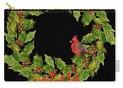 Holly Christmas Wreath And Cardinal Carry-all Pouch