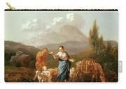 Holy Family At A Stream Carry-all Pouch by Karel Dujardin