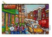 Home Town Painting St Viateur Bagel Street Scene Coca Cola Truck Montreal 375 Carole Spandau Art     Carry-all Pouch