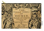 Homer Title Page, 1616 Carry-all Pouch