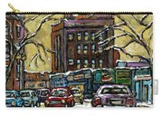 Buy Original Paintings Montreal Petits Formats A Vendre Scenes Traffic On Rue Van Horne Carry-all Pouch