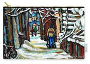Buy Original Paintings Montreal Petits Formats A Vendre Scenes Man Shovelling Snow Winter Stairs Carry-all Pouch