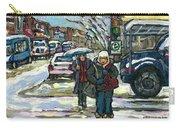 Rue Cote St Catherine Peintures Petit Format A Vendre Scenes De Ville Montreal Street Scenes  Carry-all Pouch