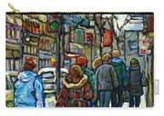 Promenade Au Centre Ville Rue Ste Catherine Montreal Winter Street Scene Small Paintings  For Sale Carry-all Pouch