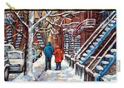 Promenade En Hiver Winter Walk Scenes D'hiver Montreal Street Scene In Winter Carry-all Pouch