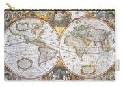 Hondius World Map, 1630 Carry-all Pouch by Photo Researchers