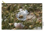 Honeybee Gathering From A White Flower Carry-all Pouch