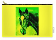Horse Art Horse Portrait Maduro Green Black And Yellow Carry-all Pouch
