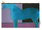 Horse, Blue On Lavender Carry-all Pouch