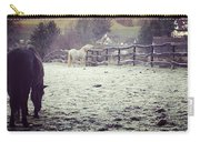 Horses On A Frosty Pasture Carry-all Pouch