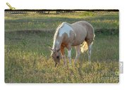 Horse Feeding In Grass Farm With Sunset Light From The Left Carry-all Pouch