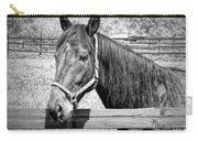 Horse Portrait In Black And White Carry-all Pouch