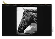 horse portrait PRINCETON black and white Carry-all Pouch